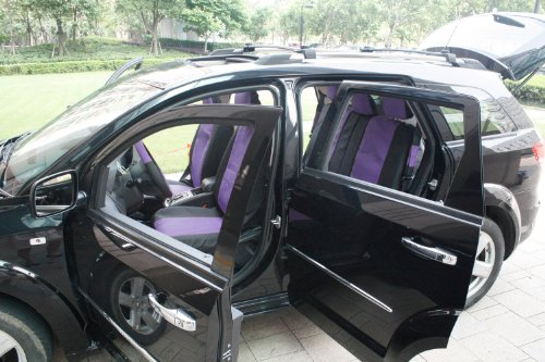 OxGord 17pc Leatherette Seat Cover Set, Airbag Compatible, for NISSAN SENTRA, Purple & Black