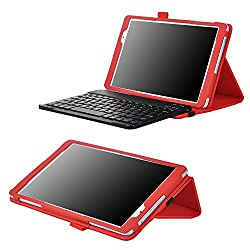 IVSO Acer Iconia One 10 B3-A30 Case with Keyboard Leather Slim-Front Prop Stand Cover Case with Bluetooth Keyboard-for Acer Iconia One 10 B3-A30 Tablet(Red)