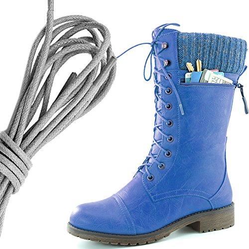 Dailyshoes Womens Combat Stijl Lace Up Enkellaarsje Ronde Teen Militaire Knit Creditcard Mes Geld Portemonnee Pocket Laarzen, Grijs Blauw Pu