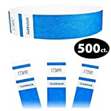 Goldistock Select Series - 3/4'' Tyvek Wristbands Vibrant Deep Neon Blue 500 Count - Event Identification Bands (Paper - Like Texture)
