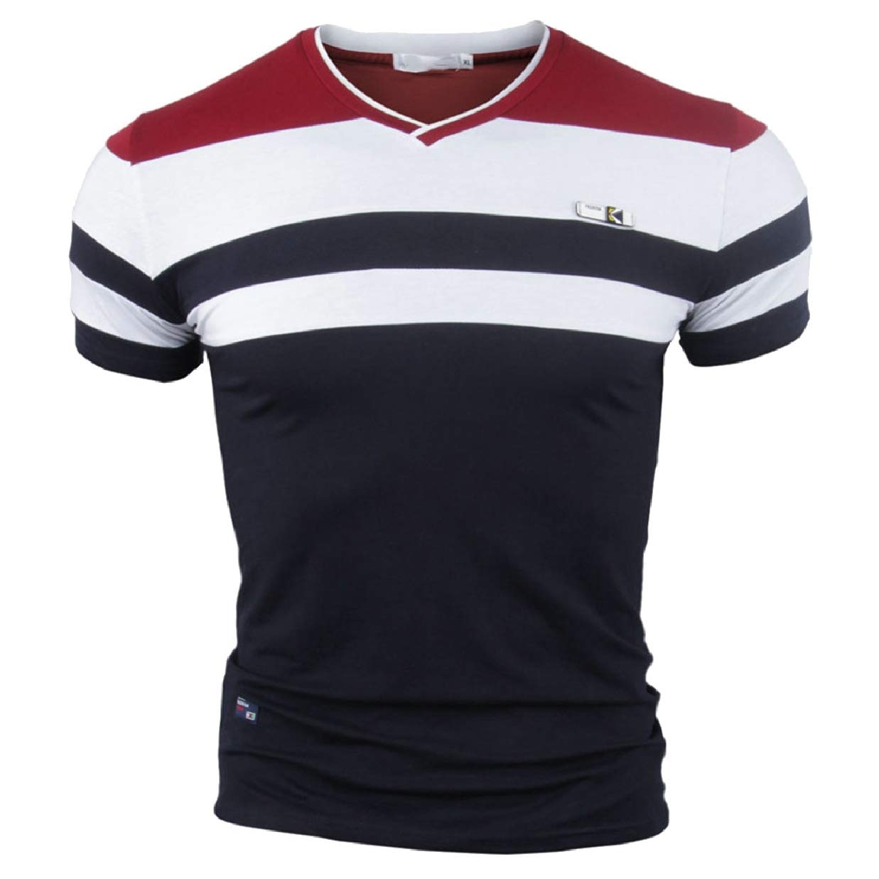 CBTLVSN Mens Short Sleeve Stripe V Neck Casual Summer Slim Blouses