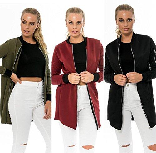 FEITONG Mujeres de la manera larga delgada Escudo chaqueta del foso Parka Outwear Cardigan Vino