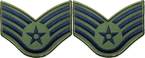 Set 2 of Staff Sergeant Od (Olive Drab) and Blue Large US Air Force USAF CHEVRONS Rank Military U.S. Army Airman Morale Applique Embroidered Sew Iron on Emblem Badge Patch By Ranger Return