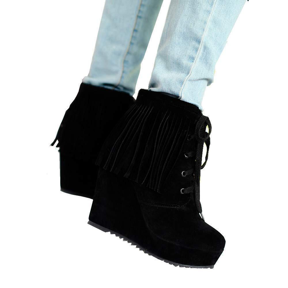 ZHRUI Stiefel Damen Schuhe Damenstiefel Weisefrauen Schnüren Schnüren Schnüren Sich Oben Quasten Hohe Ferse Kurze Stiefeletten Freizeitschuhe Winterstiefel Turnschuhe Stiefel (Farbe   Schwarz, Größe   36 EU) c2a727