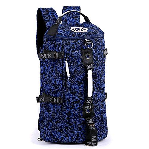 Los Hombres De Personalidad Mochila, Bolsa De Viaje De Ocio, Ordenador Shoulder Bag, Travel Bag, Bolsa De Equipaje, Juventud,Color Azul Y Blanco Black and blue printing