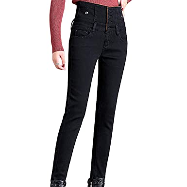 ba55b6991802af Image Unavailable. Image not available for. Color: HIENAJ Women's High  Waist Stretch Skinny Jeans Fleece Lined Warm Slim Fit Denim Pants