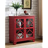 Superieur Kings Brand Furniture Red Finish Wood Buffet Cabinet Console Table