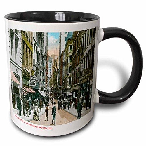 - 3dRose BLN Scenes of New York City Collection - Nassau Street Looking North, New York City - 15oz Two-Tone Black Mug (mug_170147_9)