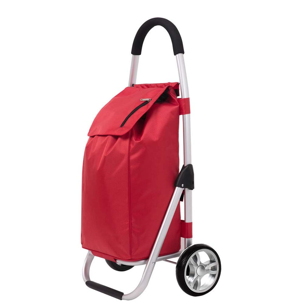 Portable Shopping Cart with Quiet Wheels Color : Brown Grocery Cart with Removable Bag Hard Wearing /& Foldaway for Easy Storage Utility Cart Lightweight Shopping Trolley