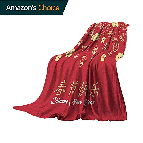 Chinese New Year Queen Size Blanket,Oriental Celebration Icons Swirling Clouds and Ornaments Soft,Fuzzy,Cozy,Lightweight Blankets,70