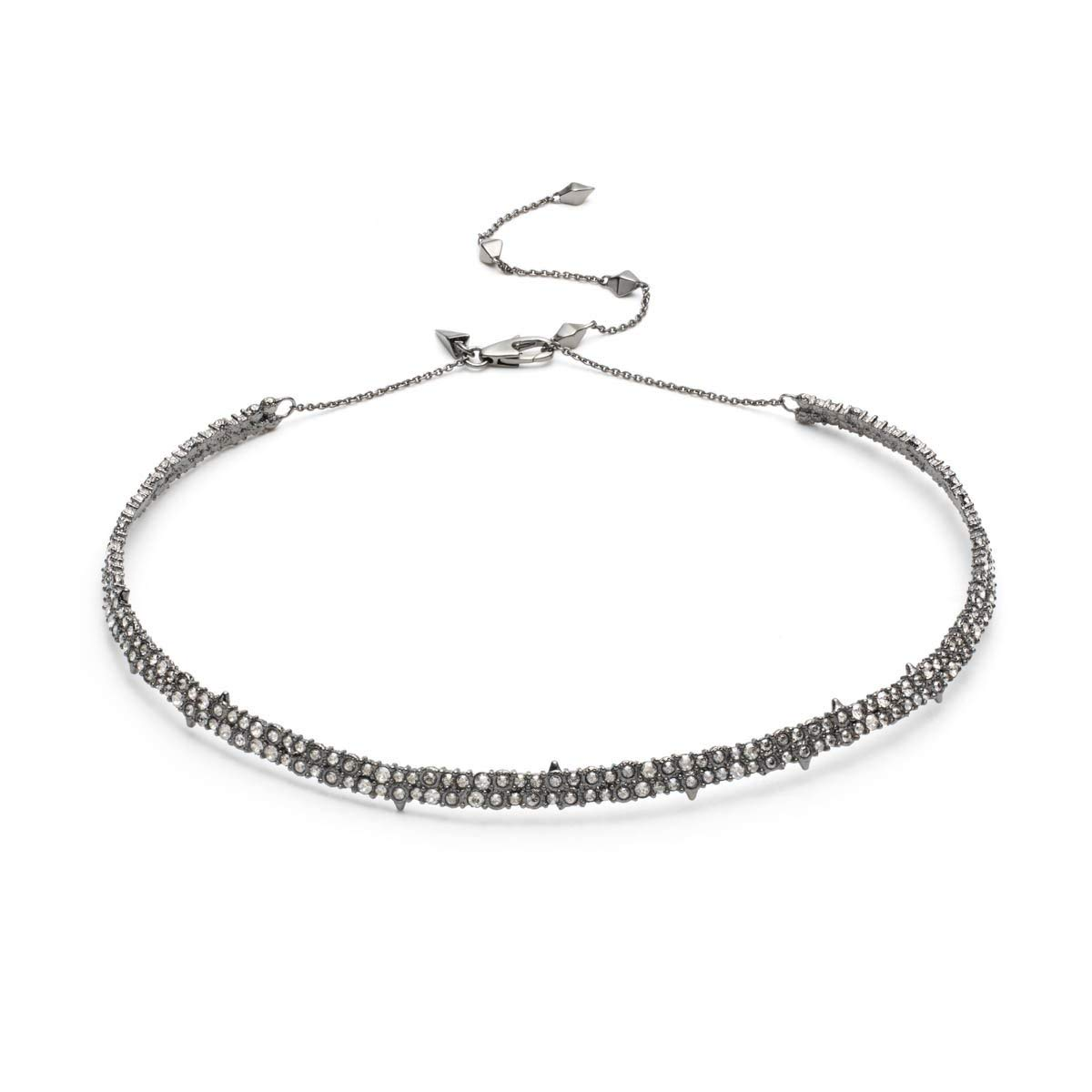 Alexis Bittar Women's Crystal Encrusted Spike Accented Choker Necklace Ruthenium/10K Gold by Alexis Bittar