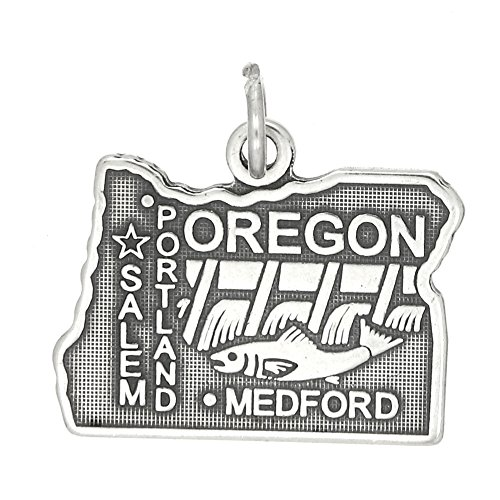 Sterling Silver Oxidized Travel State Map of Oregon Charm (Map Usa Sterling Silver Charm)