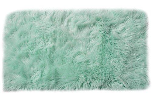 - Serene Super Soft Faux Sheepskin Shag Silky Rug Baby Nursery Childrens Room Rug Mint Green, 4' x 6'