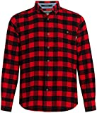 Woolrich Men's Trout Run Flannel Shirt Modern Fit, Old Red Buffalo, Large