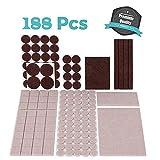 188 Pieces Premium Furniture Pads, Ikain Fik Various Sizes Non Slip Felt Furniture Pads, Two Colors Wood Floor Protectors