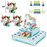 Unicorn Cupcake Stand Tower Treat Tiered Stand/12pcs Unicorn Cupcake Toppers Pick/24pcs Treat Cones/3pcs Mini Unicorn Balloons for Decors Unicorn Rainbow Themed Birthday Party