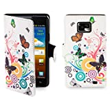 32nd® Design book wallet PU leather case cover for Samsung Galaxy S2 Sii i9100 + screen protector and cloth - Colour Butterfly