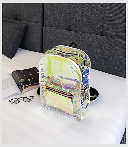 Backpack Holographic Satchel Women Clear Daypack Purses Transparent PVC Transparent for FwRrqBw5Cx