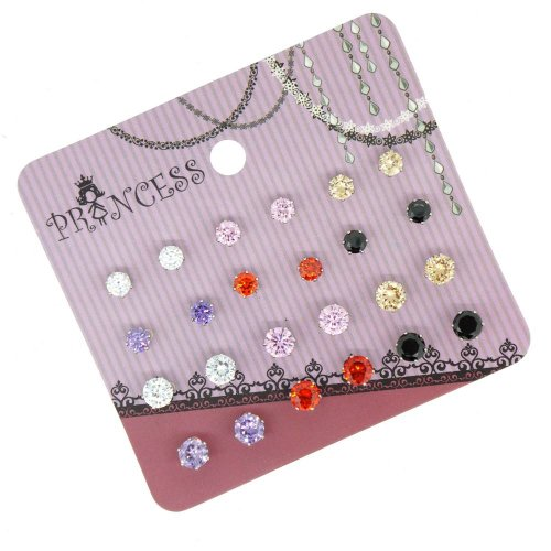 Pack of 12 4mm n 5mm Cubic Zirconia Crystal Magnetic Stud Earrings Mix Size Color (Magnetic Earrings Teens For)
