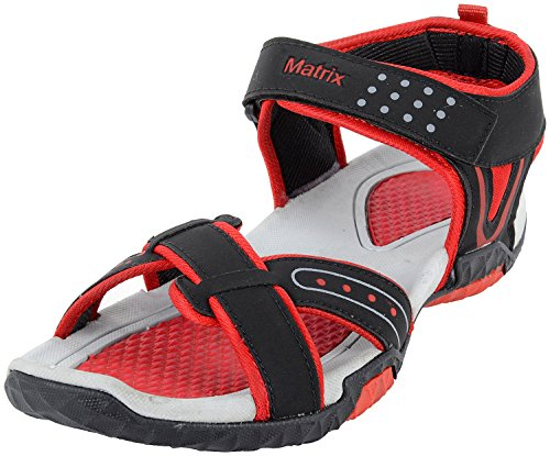 Matrix Men's Red and Black Synthetic Sandals
