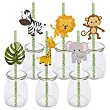 Woodland Animal Theme Paper Straw Decor - Forest Animals Baby Shower or Birthday Party Striped Decorative Straws - Set of 36