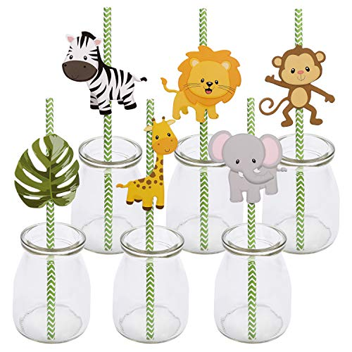 Woodland Jungle Animal Theme Paper Straw Decor - Forest Animals Baby Shower or Birthday Party Striped Decorative Straws - Set of 36 -