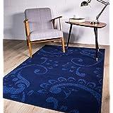 Contemporary Blue Floral Paisley Silhouette Pattern Design Rug 160cm x 230cm