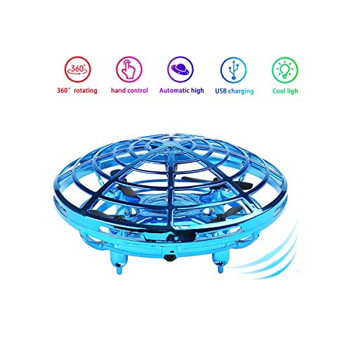 Red Boys and Girls Gift BOMPOW Boys Toys Kids Flying Drones Mini Hand Controlled Flying Ball Drone with 2 Speed and LED Light for Kids
