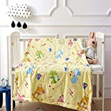 USTIDE Baby Blanket 43.3'' x 59'' - Yellow Dinosaur- Soft Blanket for Newborns and Toddlers - Best for Girl Crib, Nursery, and Security,100% Cotton