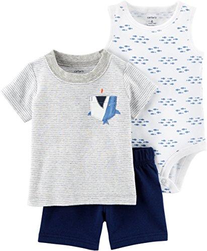 Carter's Baby Boys' 3 Piece Layette Set (Baby) (12 Months, Pocket Shark)