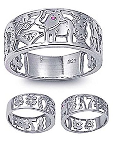 Lucky 7 Horseshoe - 8mm Sterling Silver Red Simulated Ruby Eye LUCKY CHARM Elephant, Horse Shoe, Owl, Seven 7, Evil Eye, Four Clover Flower Ring Band 5-10