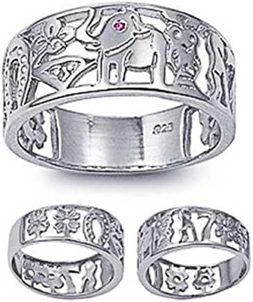 8mm Sterling Silver Red Simulated Ruby Eye LUCKY CHARM Elephant, Horse Shoe, Owl, Seven 7, Evil Eye, Four Clover Flower Ring Band 5-10
