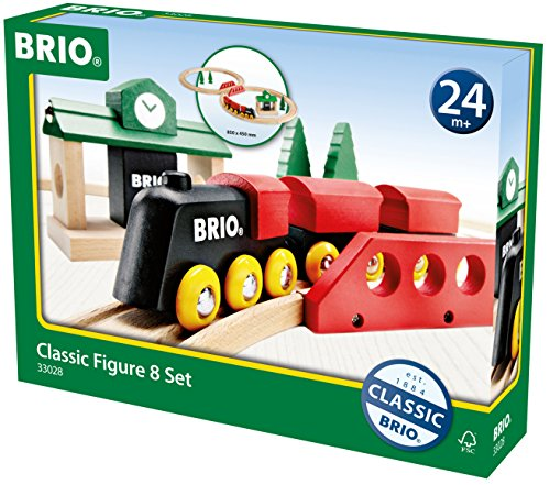 BRIO World – 33028 Classic Figure 8 Set | 22 Piece Toy Train Set with Accessories and Wooden Tracks for Kids Age 2 and Up