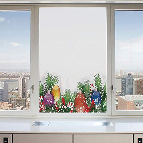 3D Decorative Privacy Window Films,Holiday Season Office Festive Decor Tree Decorations Snowflakes,No-Glue Self Static Cling Glass Film for Home Bedroom Bathroom Kitchen Office 24x36 Inch