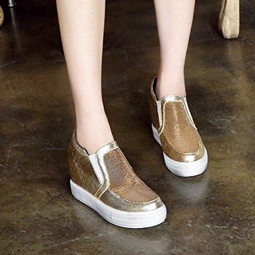 Carolbar Womens Mode Paljetter Tillfällig Plattform Dold Klack Skor Guld