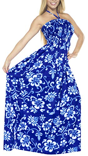 Maxi Falda Ropa de Noche Cubre LEELA del Mujeres de f383 Mangas Vestido Playa Azul de la el Traje baño sin de Camiseta para Tubo de Arriba Las LA Largo wHA7qPnI1w