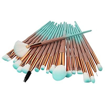 Tenmon 20pcs Unicorn Shiny Gold Diamond Makeup Brush Set with Box Professional Foundation Powder Cream Blush Brush Kits (Green)