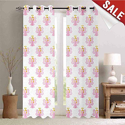 Hengshu Angel Drapes for Living Room Cute Angels Spiritual Wing Girl with Halo Fairy Tale Surreal Kids Cartoon Window Curtain Fabric W108 x L108 Inch Baby Pink Earth Yellow
