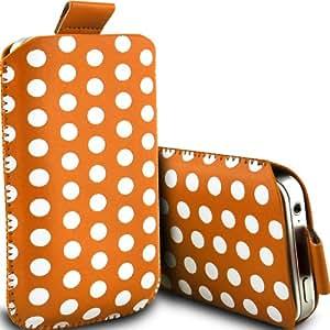 ONX3 Alcatel One Touch T'Pop Leather Slip protectora Polka PU de cordón en la bolsa de la liberación rápida (naranja y negro)