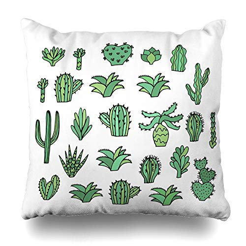 LILYMUA Set of 2 Cute Cactus Sketch Succulents Plants Art Black Blossom Car Zippered Pillow Cover,18 x 18 inch Square DecorativePillow Case Fashion Style Cushion Covers(Two Sides -