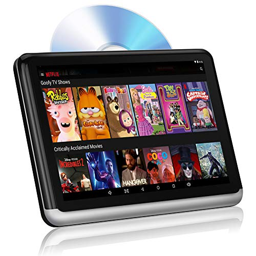 Android Headrest DVD Player Tablet Car Back Seat Video TV Monitor for Kids 10.1 inch, 1080P HD Touch Screen, Support WiFi Bluetooth FM Netflix Phone Mirroring HDMI Out 4500mAh Battery