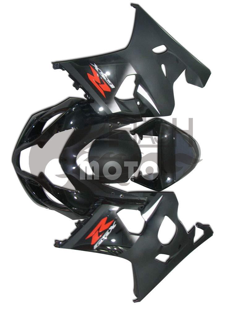 FlashMoto suzuki 鈴木 スズキ GSX-R600 GSX-R750 K4 2004 2005用フェアリング 塗装済 オートバイ用射出成型ABS樹脂ボディワークのフェアリングキットセット ブラック   B07MKCNC7V