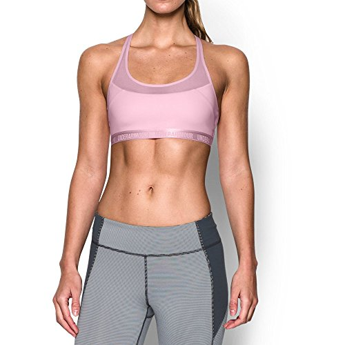 Under Armour Women's Mid Breathe, Petal Pink (904), Small Sports Bra Petal