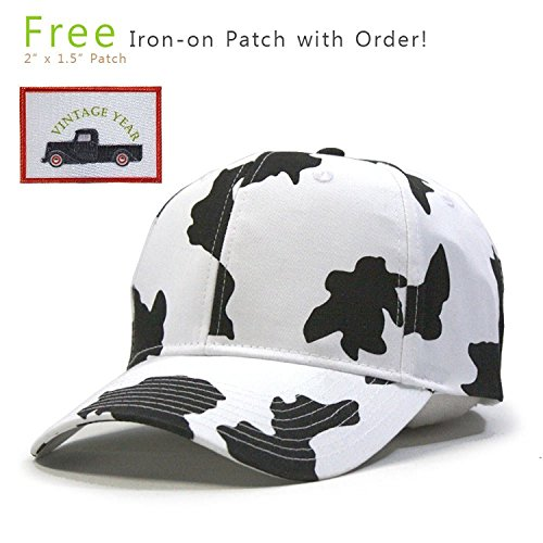 Vintage Year Milk Cow Adjustable Snapback Baseball (Cow Pattern)