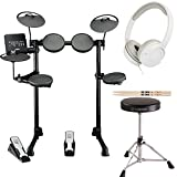 yamaha bass module - Yamaha DTX-Series DTX400K 10-Inch 10 Onboard Drum Kits Electronic Drum Set with drum throne rubber feet, drum Sticks and Stereo Headphones