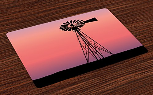 (Ambesonne Windmill Place Mats Set of 4, Windmill Silhouette at Dreamlike Sunset Western Ranch Agriculture Theme, Washable Fabric Placemats for Dining Table, Standard Size, Black Coral)