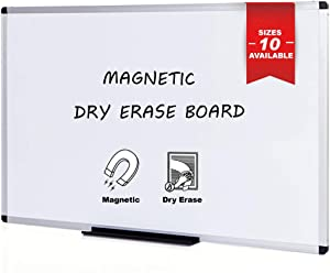 VIZ-PRO Magnetic Whiteboard/Dry Erase Board, 48 X 36 Inches, Silver Aluminium Frame