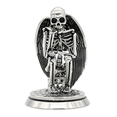 Controse Silver-Toned Stainless Steel The Undead Thinker - Angel Skeleton Statue