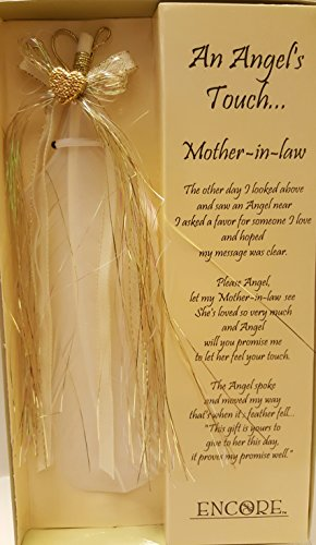 Mother-in-law Special Message an Angel Touch Prayer Promise Angel Feather with Bow