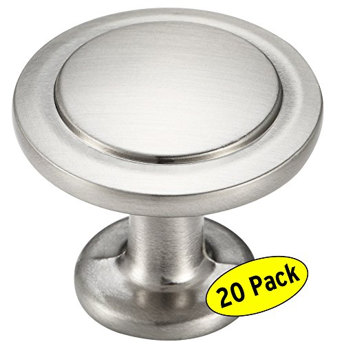 Cabinet Drawer Knobs Satin - Amazer Round Knobs, Satin Nickel Traditional Cabinet Hardware Round Knob Pull - 1-1/4
